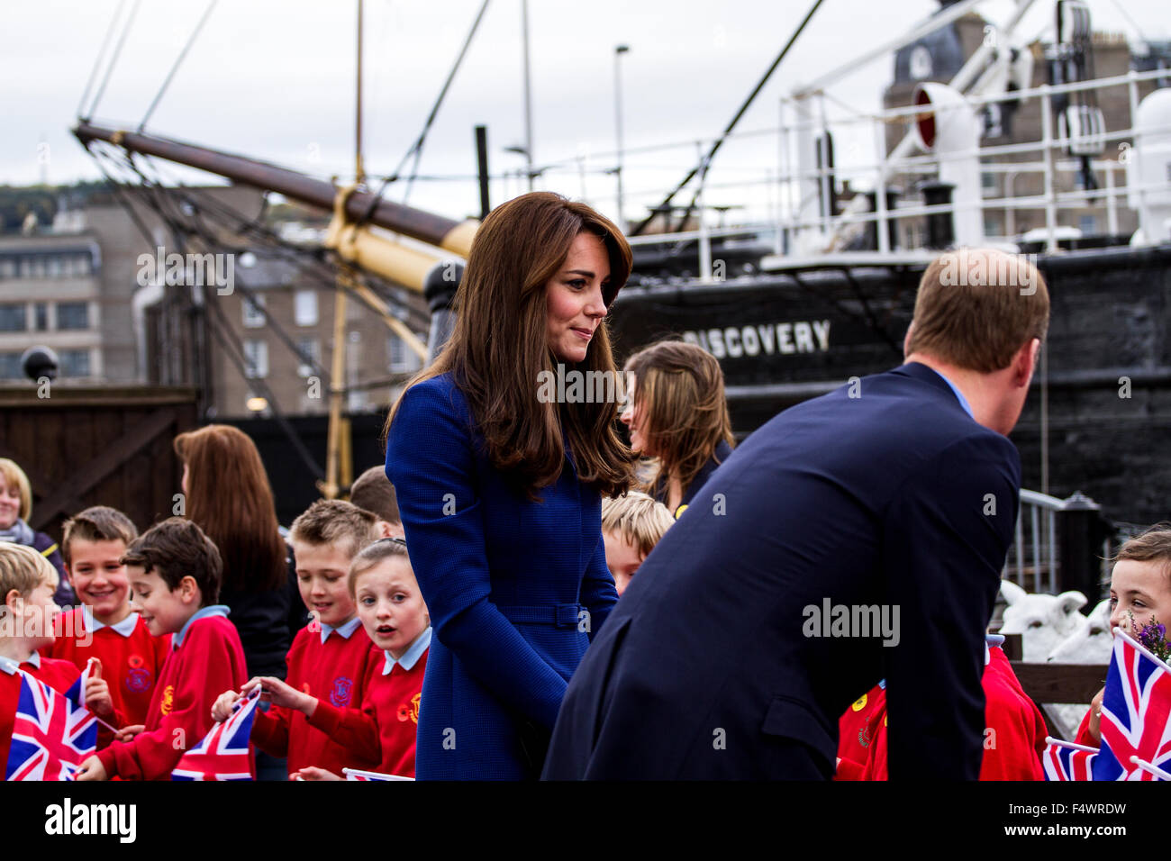 Dundee, Tayside, Scotland, UK, 23rd October 2015. Duke and Duchess of Cambridge visit to Dundee. Prince William Stock Photo