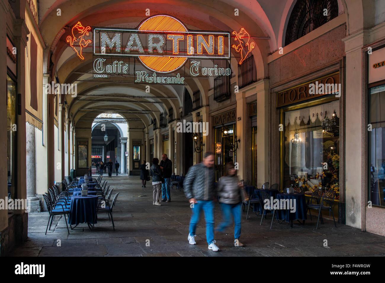 Piazza San Carlo shopping arcade, Turin, Piedmont, Italy - Stock Image