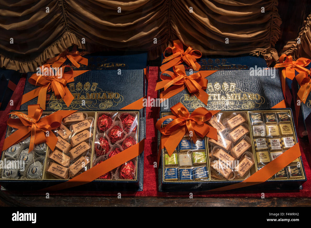 Chocolate gift boxes on sale at Caffe Baratti & Milano chocolate and coffee shop, Turin, Piedmont, Italy - Stock Image