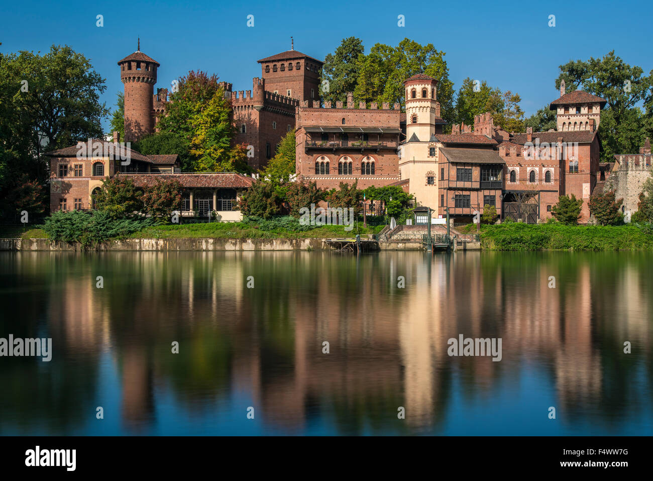 Borgo Medievale fortress and Po River, Turin, Piedmont, Italy Stock Photo