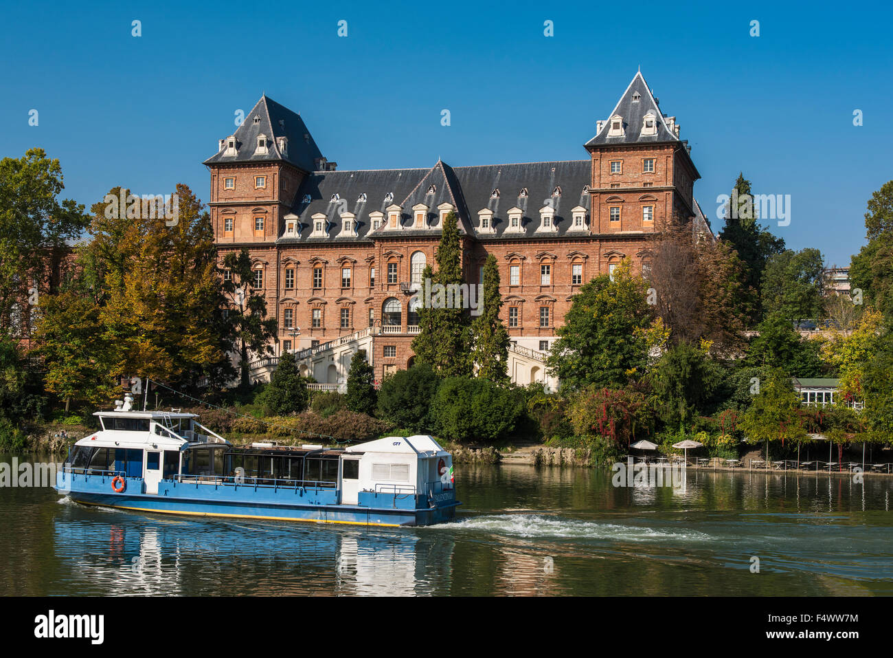 Valentino Castle and Po River, Turin, Piedmont, Italy - Stock Image