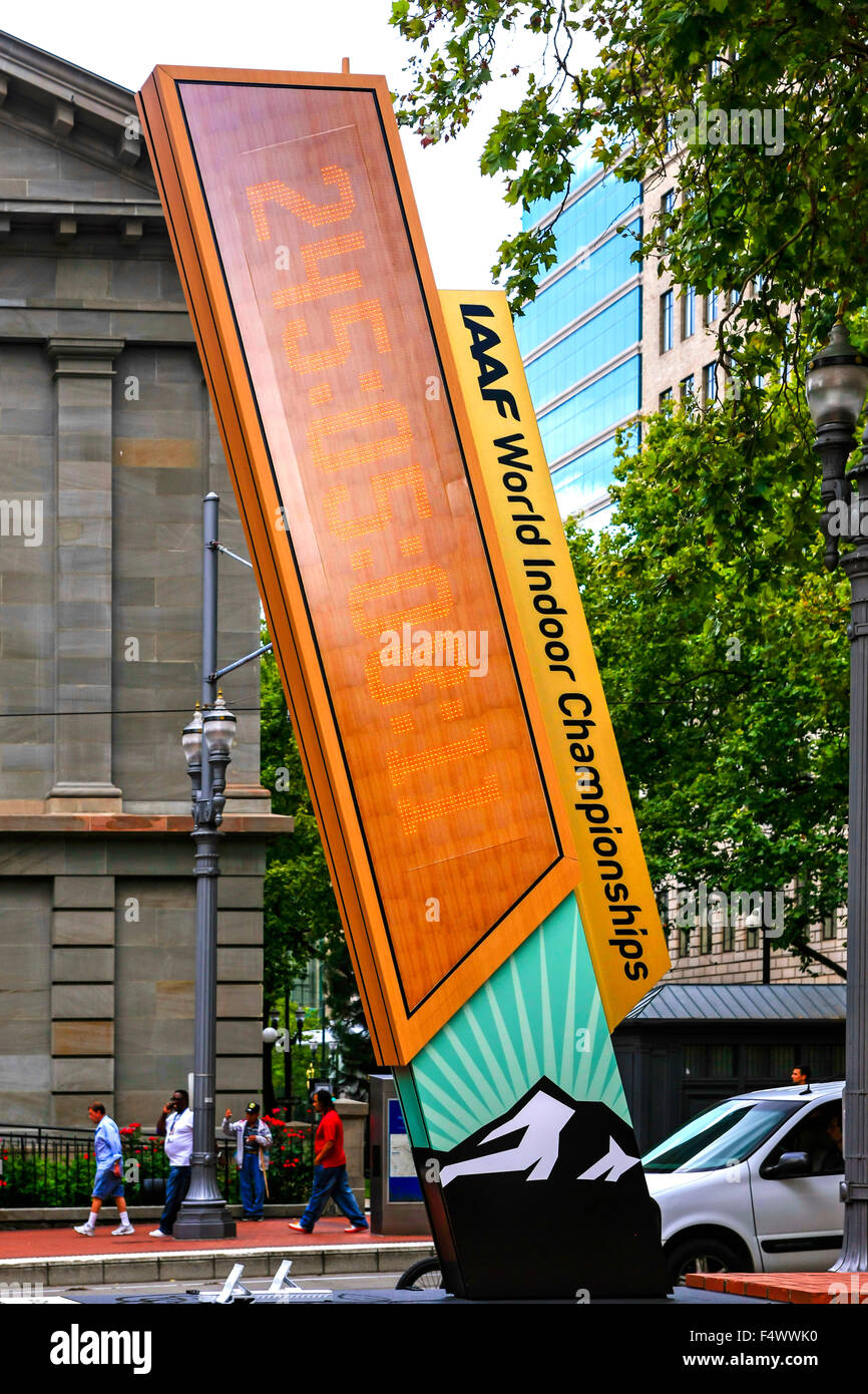 IAAF World Championship countdown clock in Pioneer Courthouse Square, Portland Oregon - Stock Image