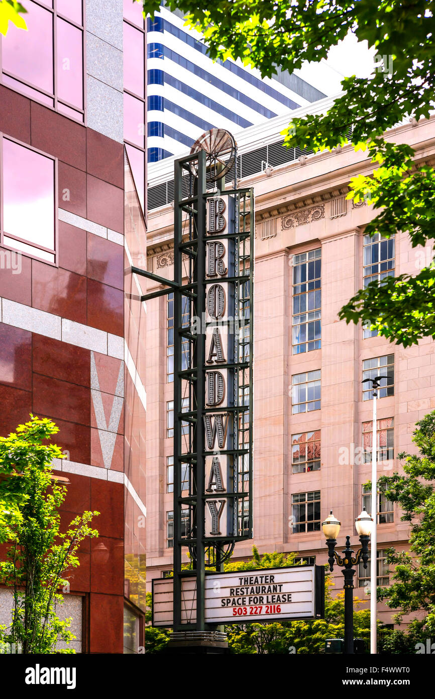 Broadway Vertical overhead sign in the theater district of Portland, Oregon - Stock Image