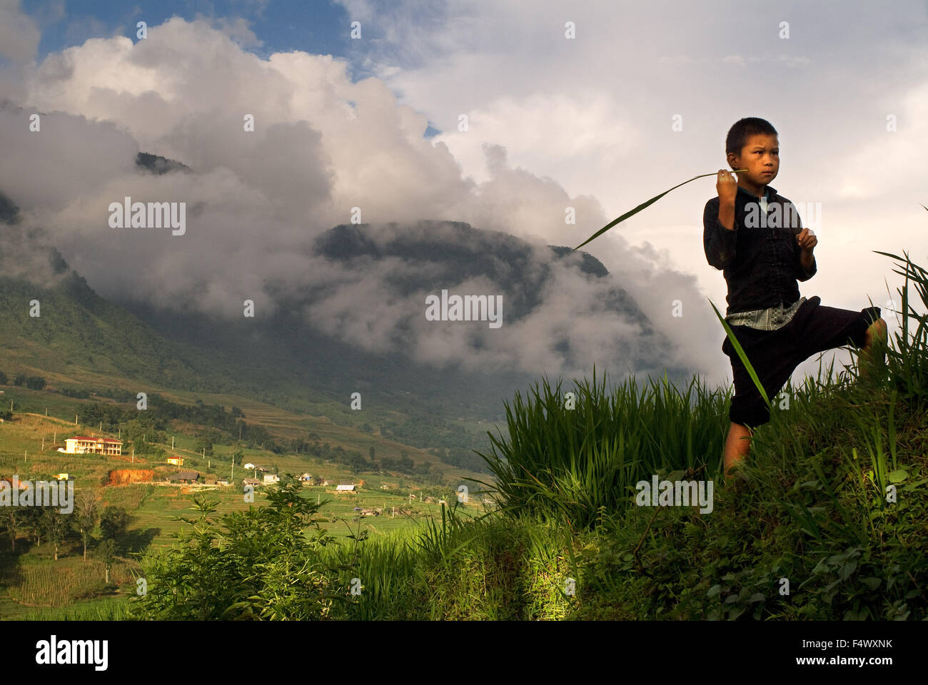A child playing next to the rice terraces nearby of Lao Chai village. Trekking Sapa to Lao Chai. Vietnam. Stock Photo
