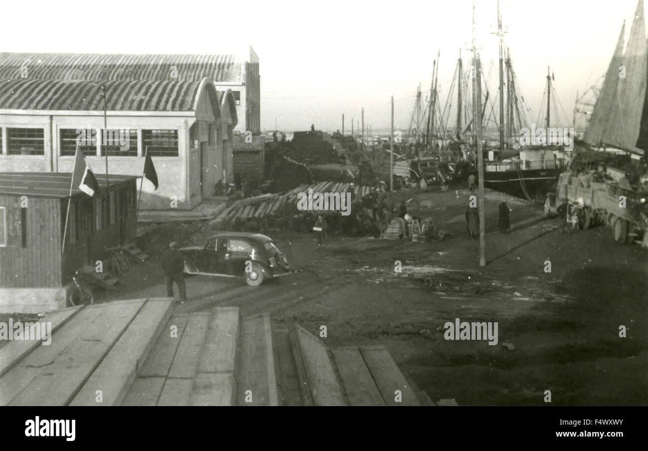 Italian naval base in Durres, Albania - Stock Image