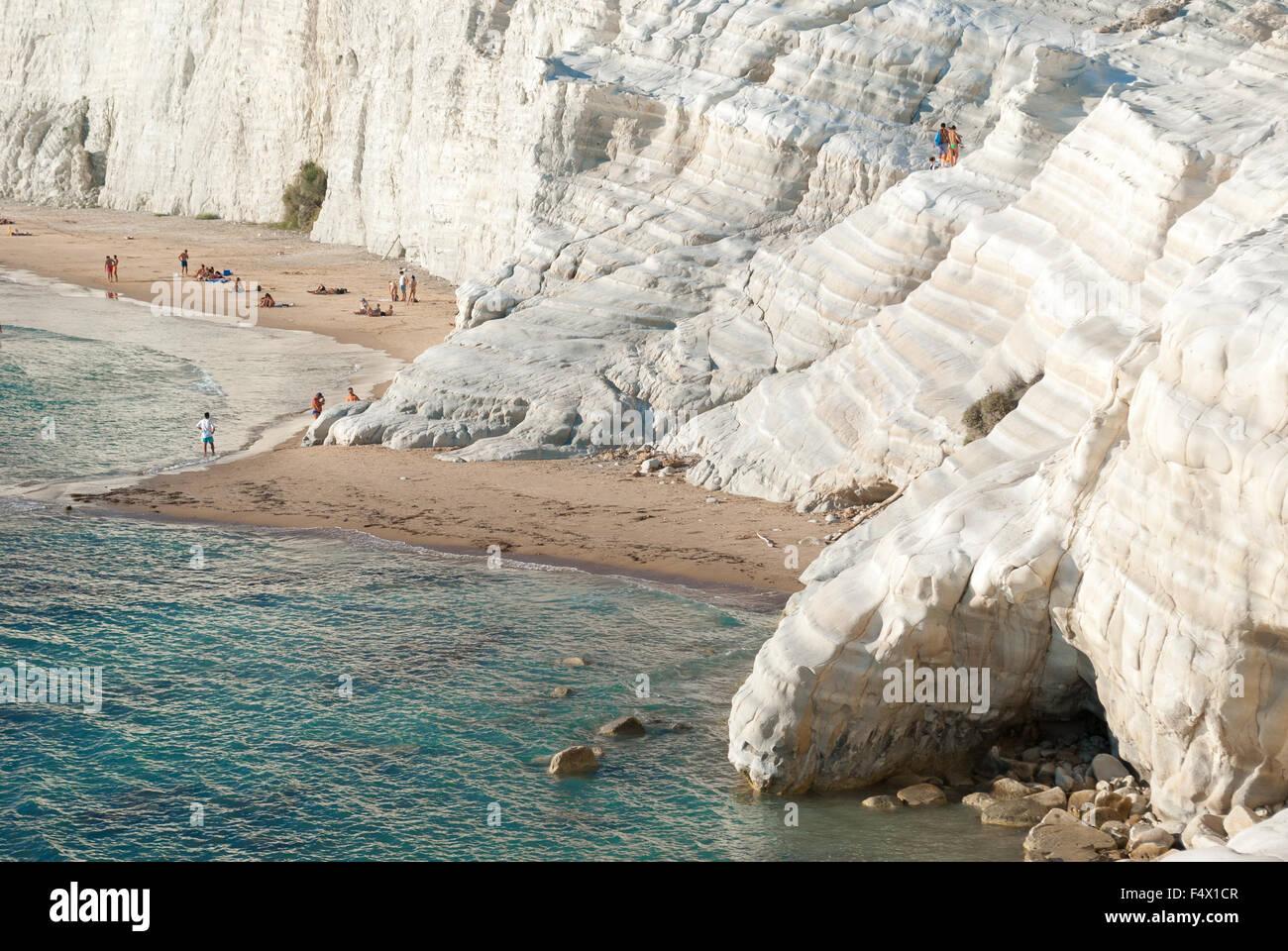 The white cliff called 'Scala dei Turchi' in Sicily, near Agrigento - Stock Image