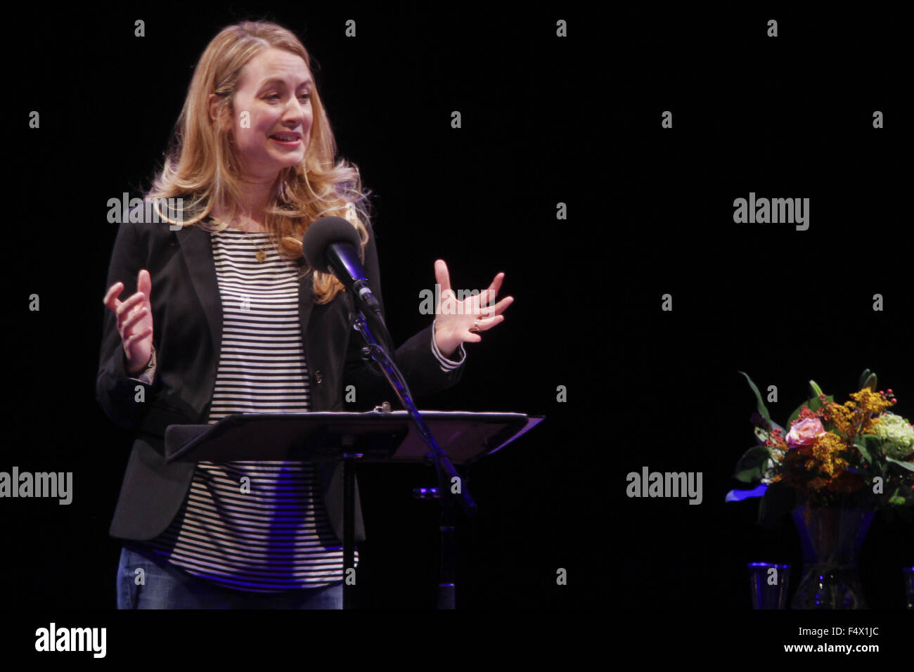 Oct. 21, 2015 - Ny, NY, U.S. - NY, NY October 21, 2015 : .Actress Jennifer Mudge reads at Symphony Space during - Stock Image
