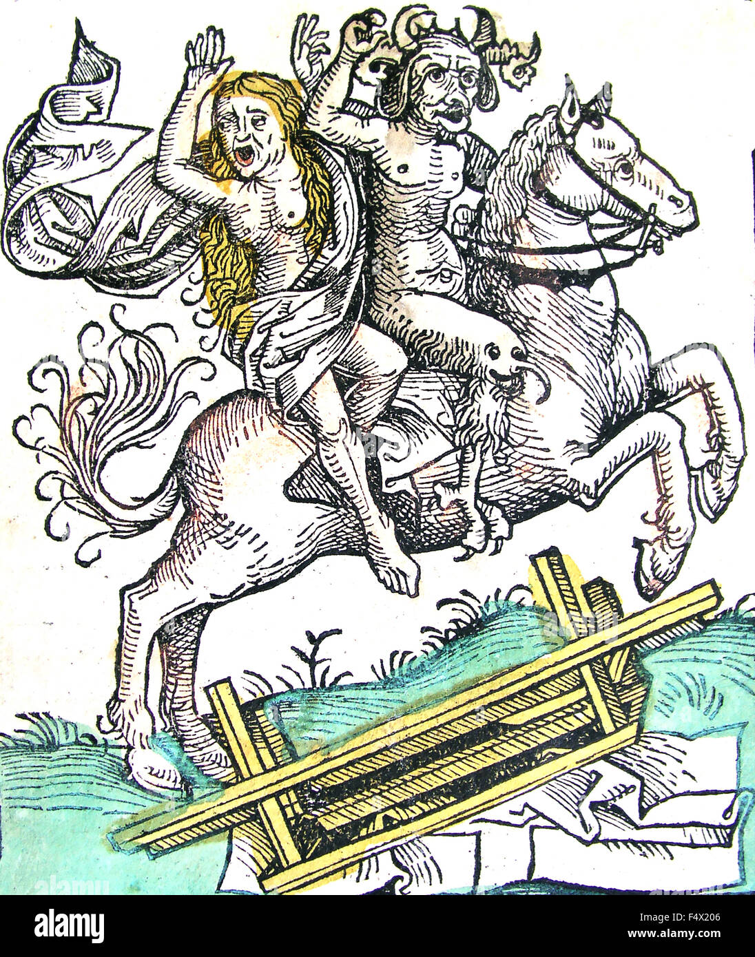 NUREMBERG CHRONICLE 15th century wood engraving of a witch and devil on horseback crosing a bridge - Stock Image