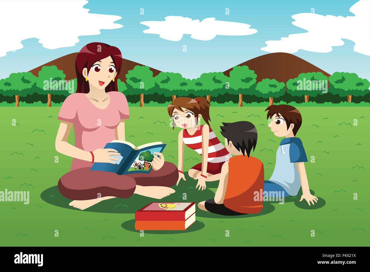A vector illustration of teacher reading book to preschool kids in the park - Stock Image