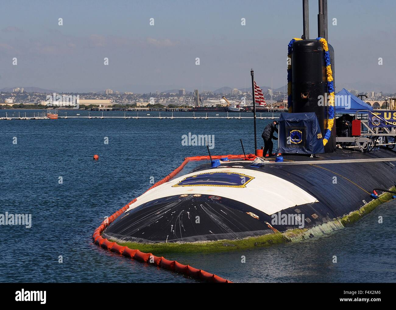 US Navy Los Angeles-class fast-attack submarine USS Hampton pier side at Naval Base Point Loma October 13, 2015 - Stock Image