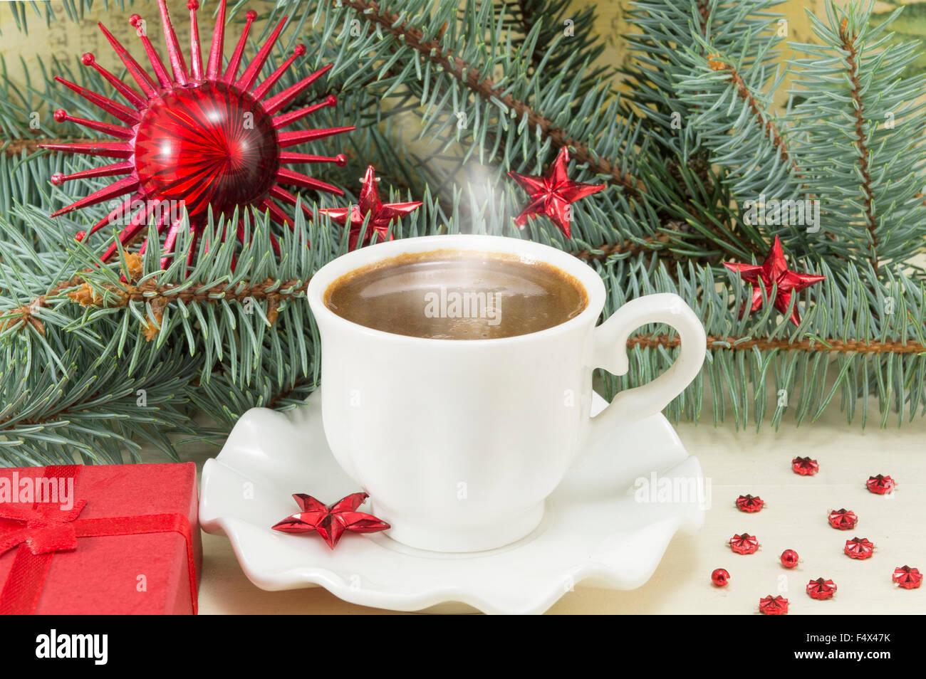 Coffee Christmas Ornaments.Winter Hot Coffee Time Hot Coffee And Christmas Ornaments