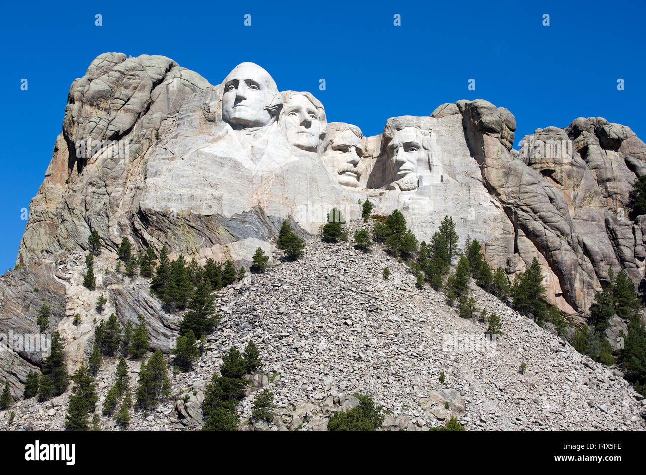 Mount Rushmore National Memorial is located in southwest South Dakota, USA. Stock Photo