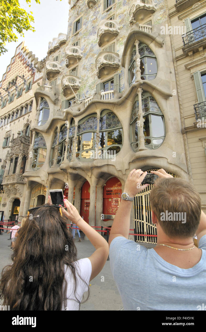 Casa Amatller and Casa Batlló,  Passeig de Gracia. Block of discord. Barcelona. Catalonia. Spain - Stock Image
