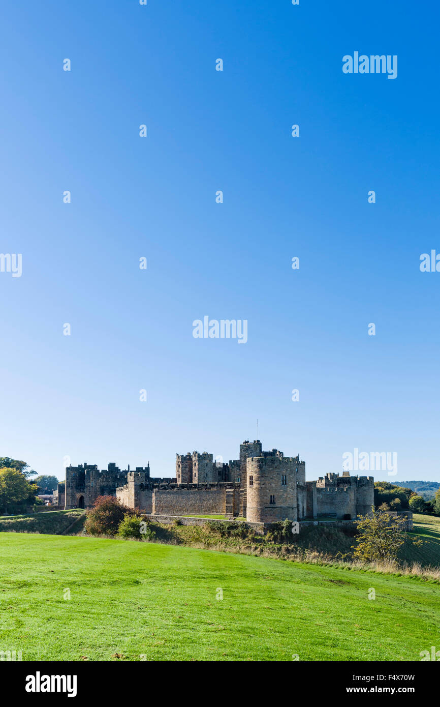 Alnwick Castle in autumn sunshine, Alnwick, Northumberland, England, UK Stock Photo