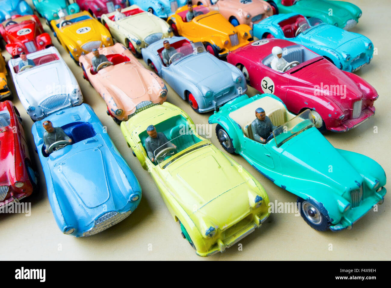 Collection of dinky Sport's cars from 1950's. multicolored cars. - Stock Image