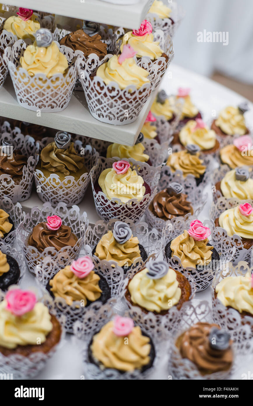 Multilevel tier of cupcakes - Stock Image