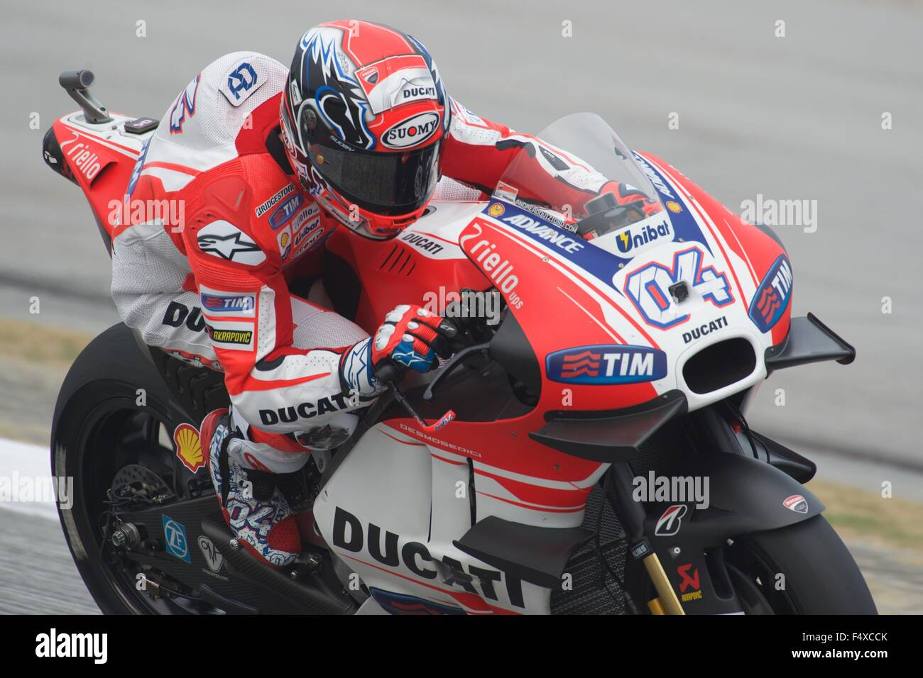 Sepang Circuit, Malaysia. 23rd Oct, 2015. Andrea Dovizioso and the front winglets of his Ducati during the Free - Stock Image