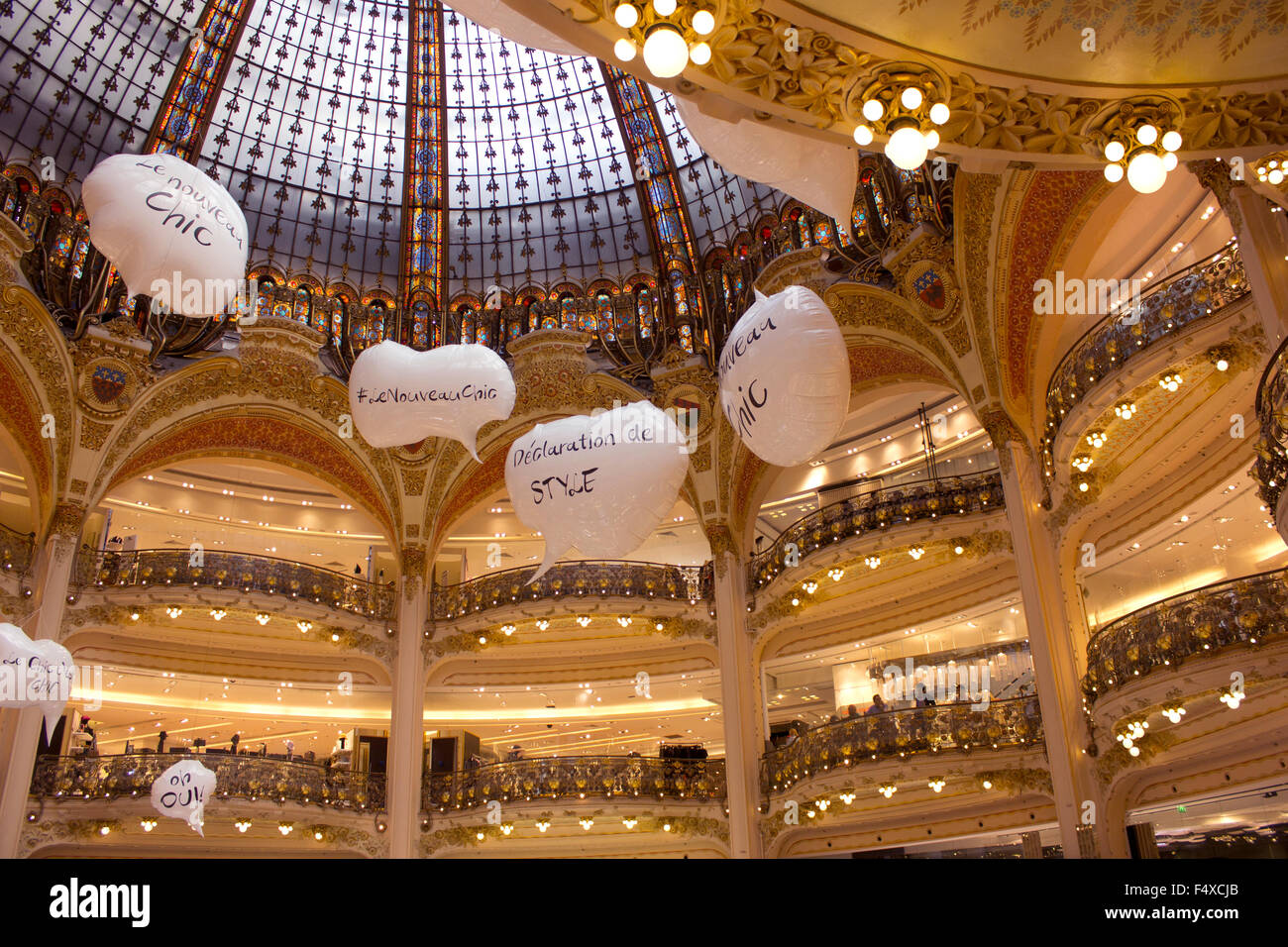 Galeries Lafayette department store on Blvd Haussman in Paris, France in the 9th arrondissement. - Stock Image
