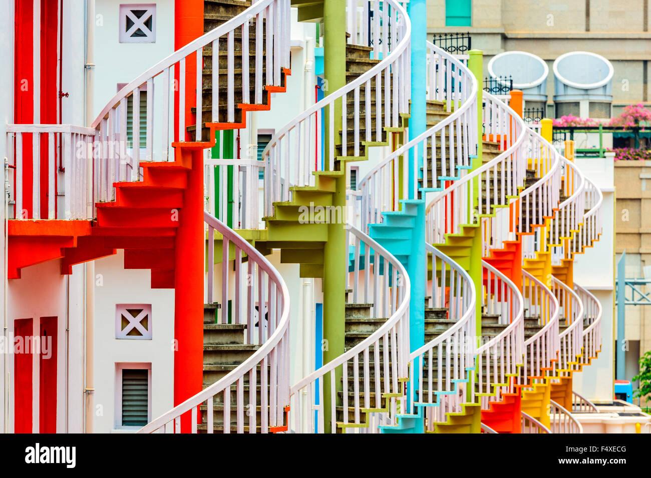 Bugis Village, Singapore spire staircases. - Stock Image
