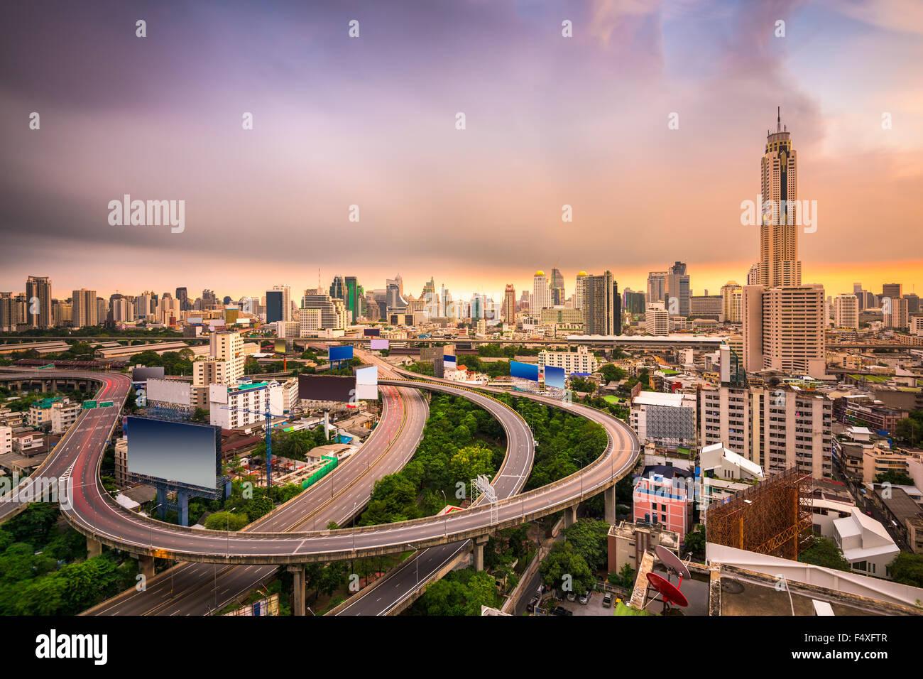 Bangkok, Thailand cityscape with highways. - Stock Image
