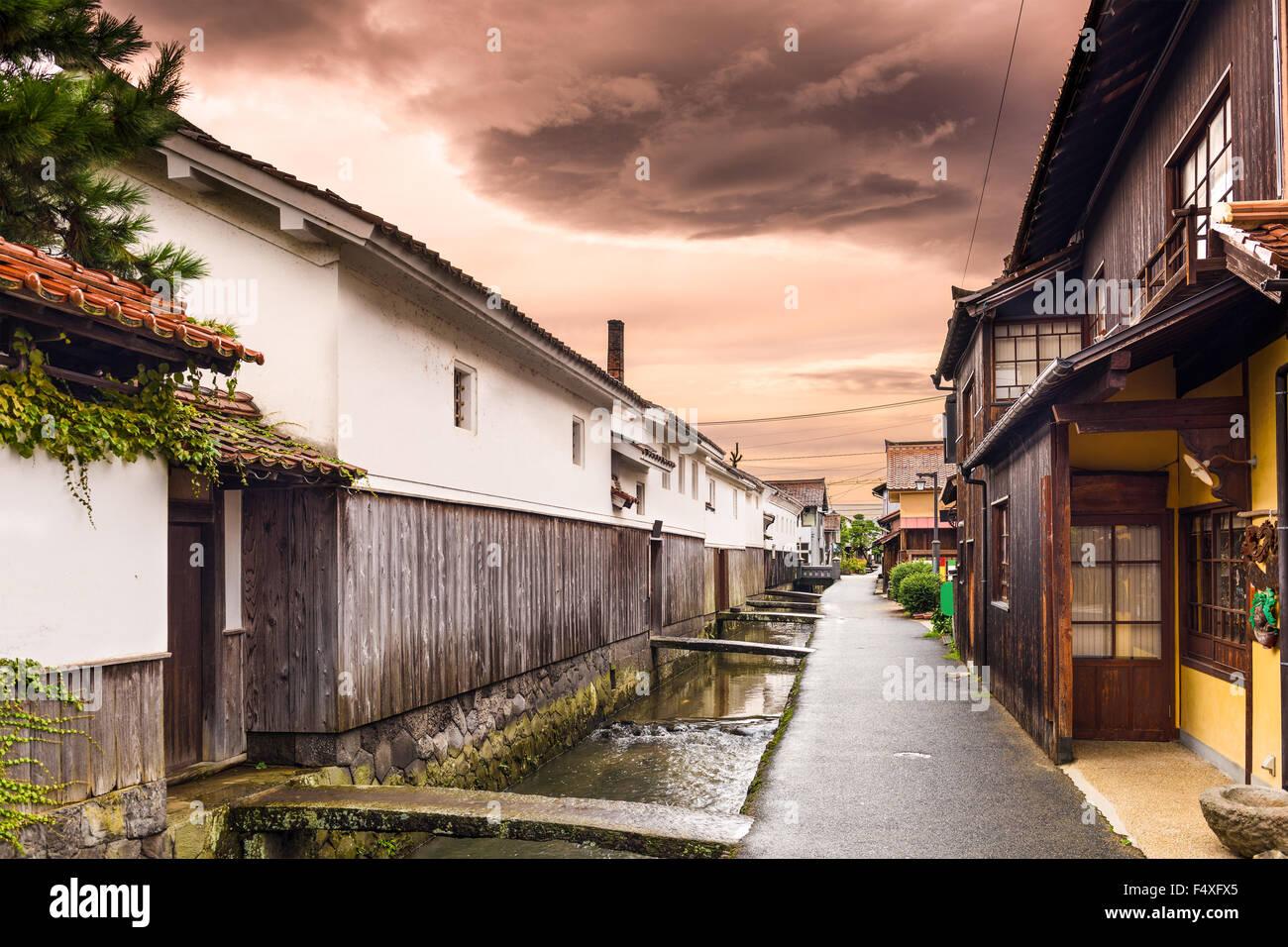 Kurayoshi, Tottori, Japan warehouses and canals. - Stock Image