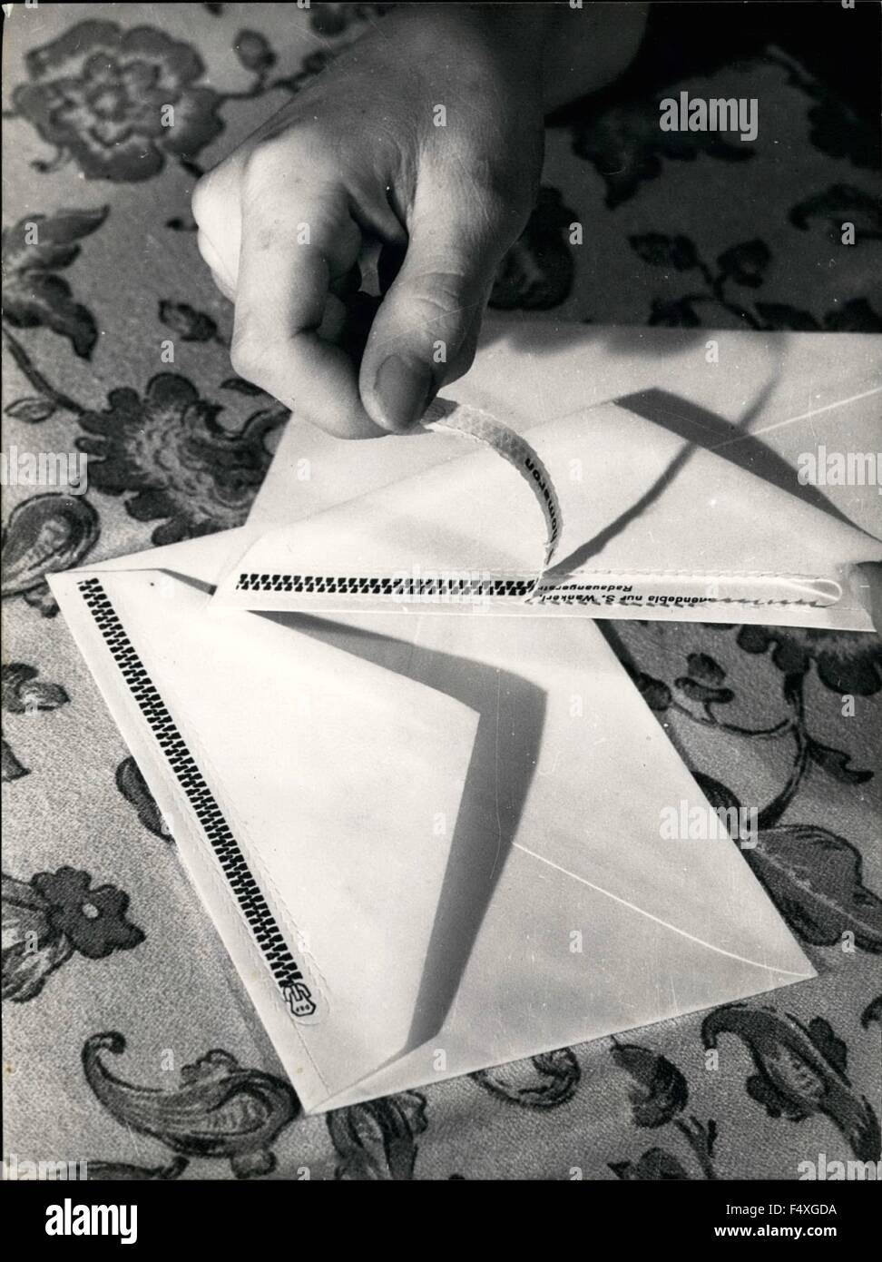 1968 - Envelope with zip fastener: The inventor of this envelope with zip fastener of paper is Alfons Miller of - Stock Image