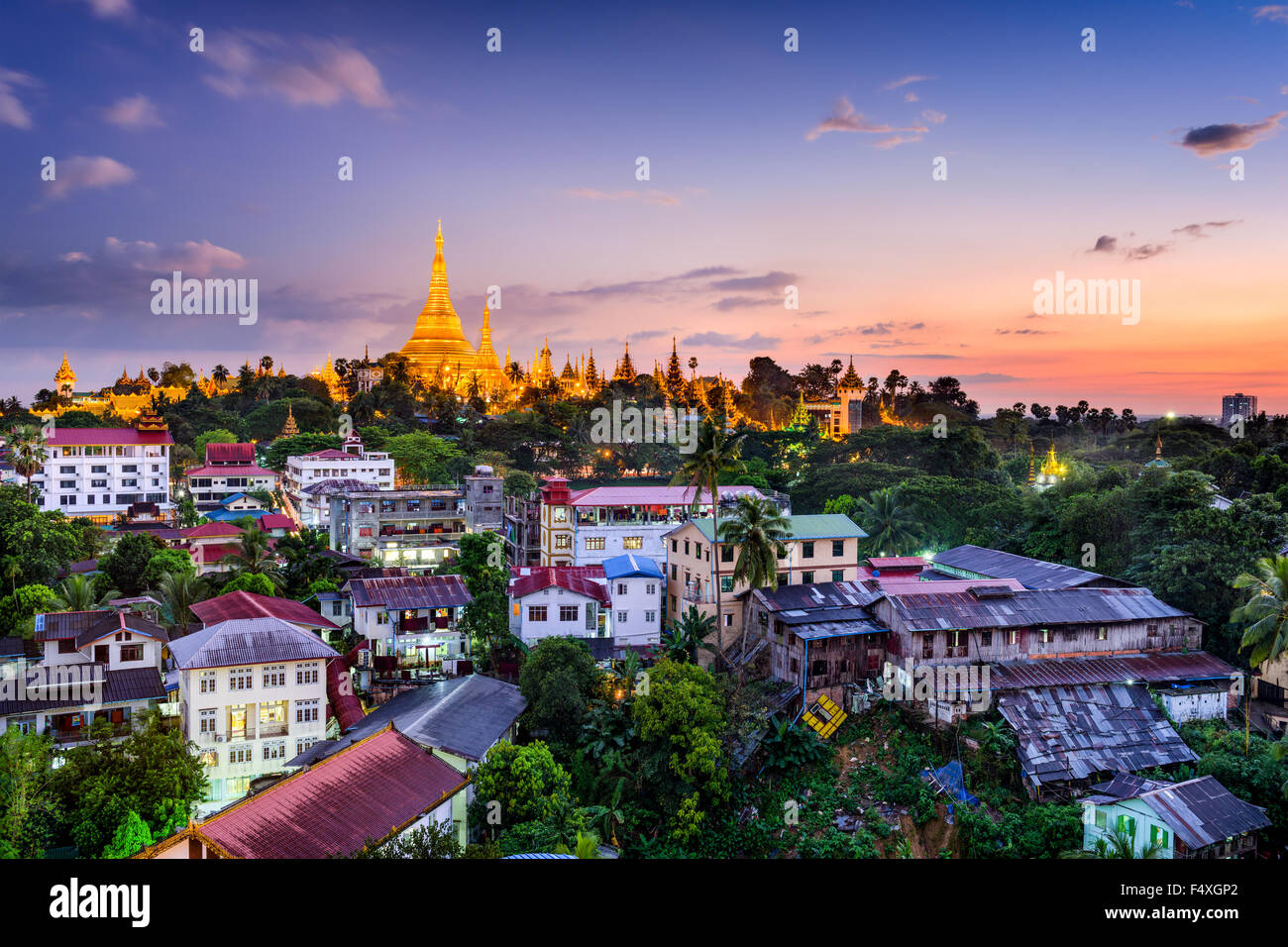 Yangon, Myanmar skyline with Shwedagon Pagoda. - Stock Image
