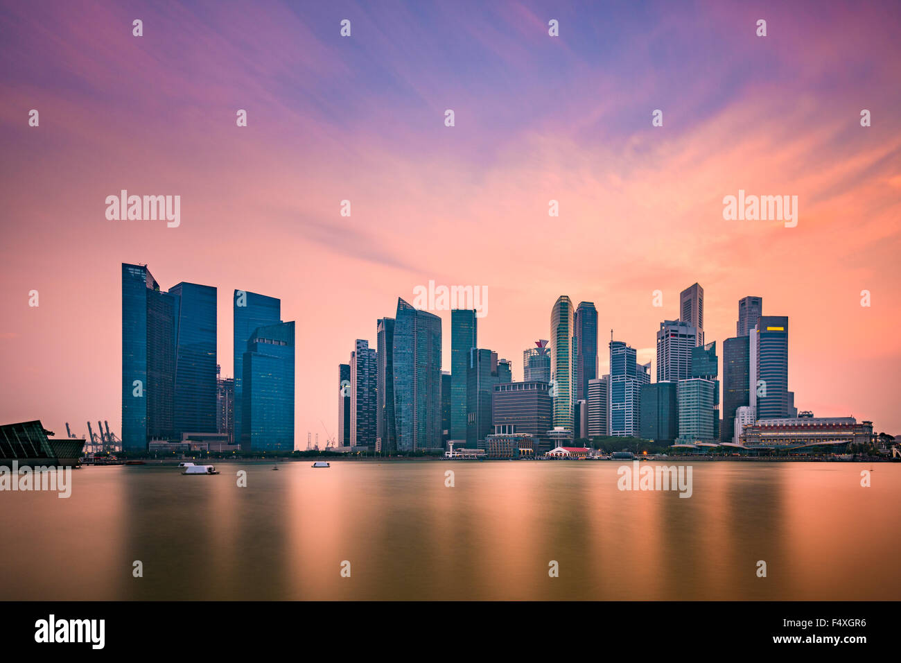 Singapore skyline at Marina Bay. Stock Photo
