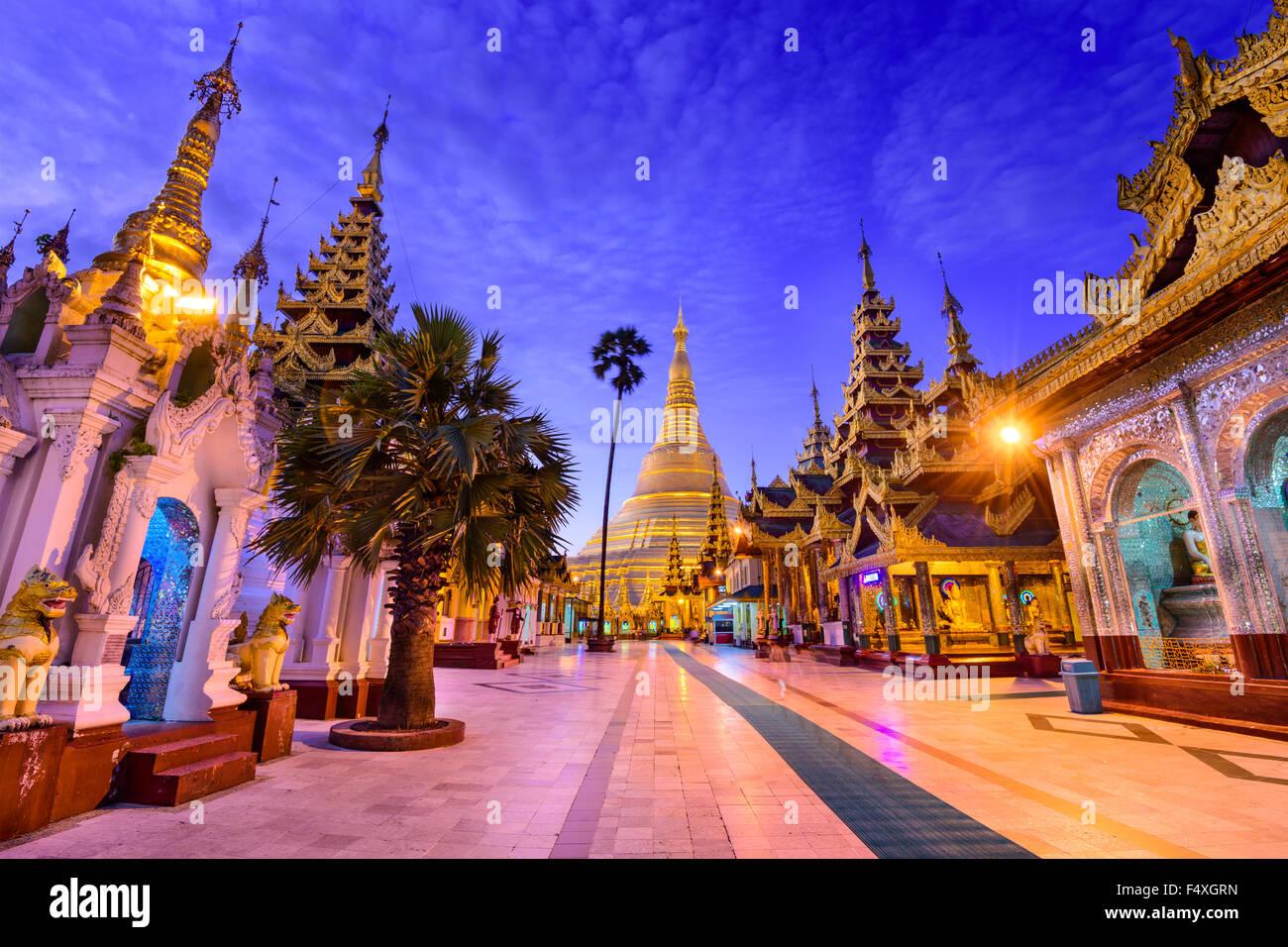 Shwedagon Pagoda in Yangon, Myanmar. - Stock Image