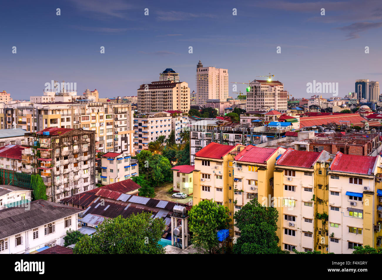 Yangon, Myanmar downtown city skyline. - Stock Image