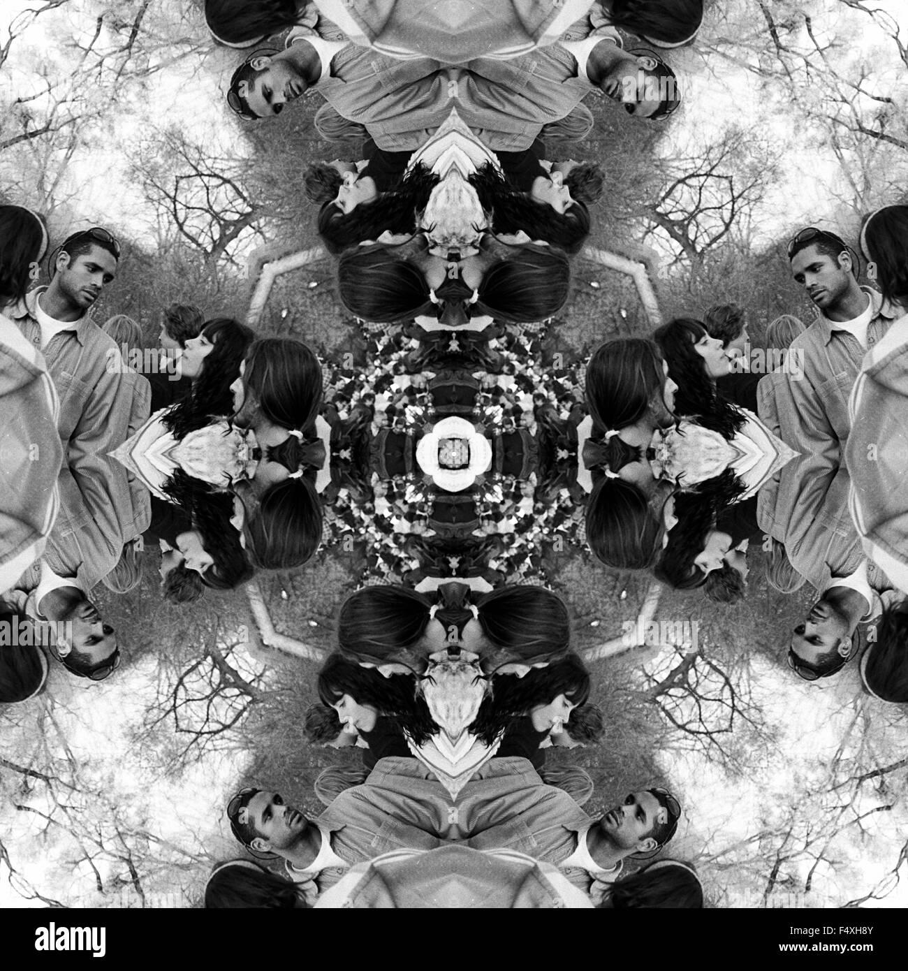 A kaleidoscopic image with people - Stock Image
