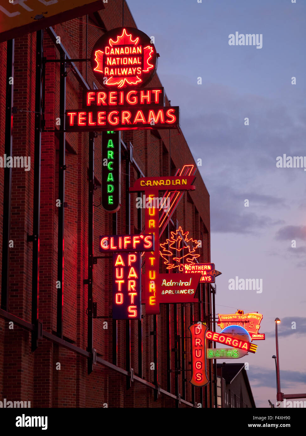 the electric neon signs of the outdoor neon sign museum in edmonton