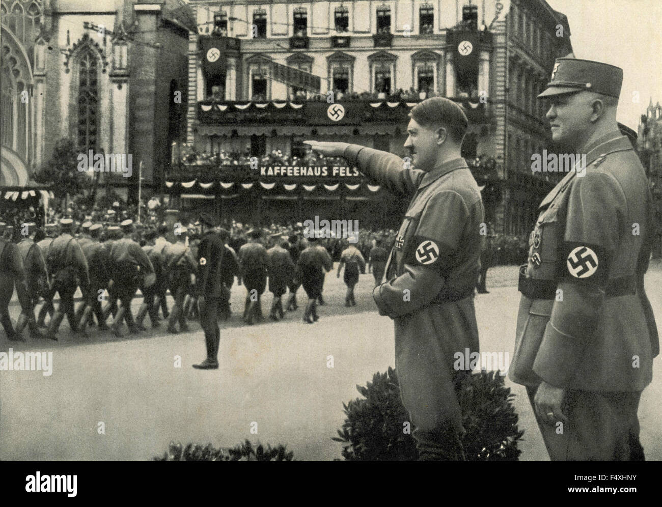 Adolf Hitler during a Nazi military parade in Leipzig, Germany - Stock Image
