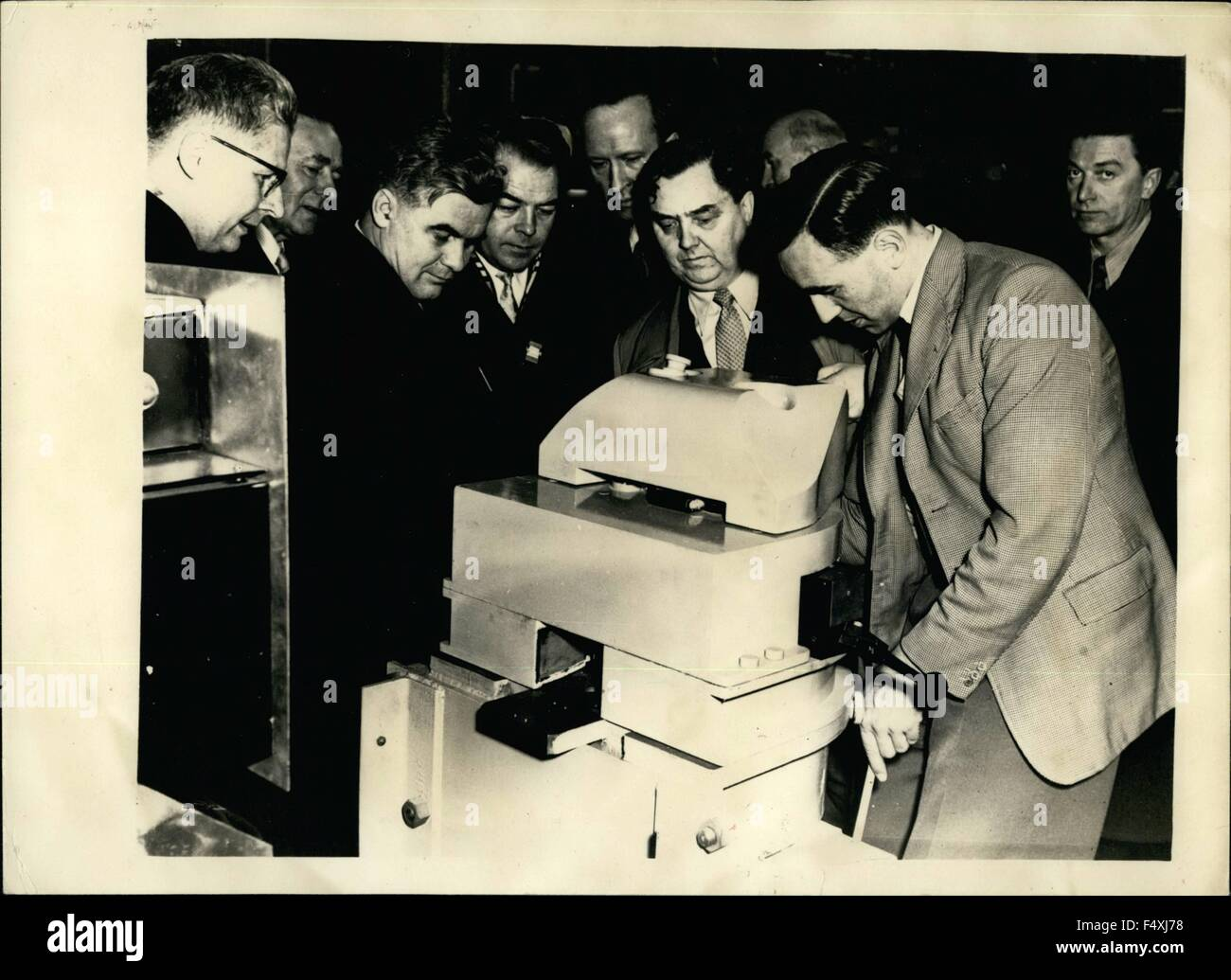 1954 - Mr. Malenkov Tours Atomic Research Station.: M. Malenkov accompanied by a party of atomic research station - Stock Image