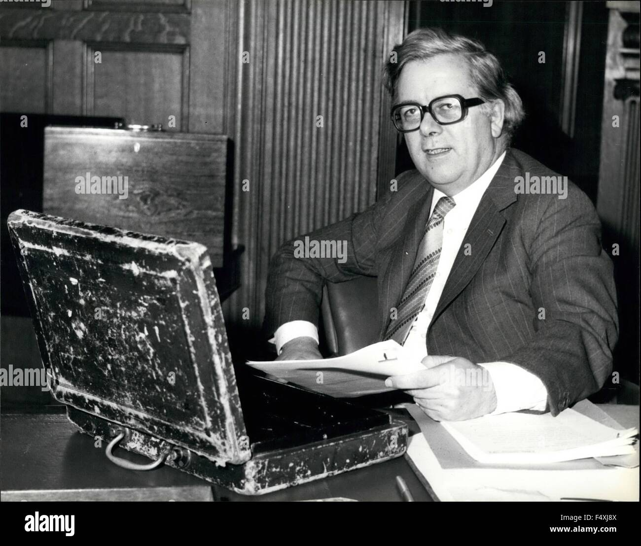 Today he was in his office at the treasury with the traditional dispatch box but we have to wait a little while - Stock Image