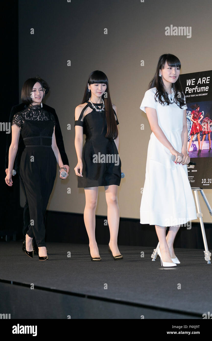 (L to R) Members of the Japanese pop girl group Perfume ...