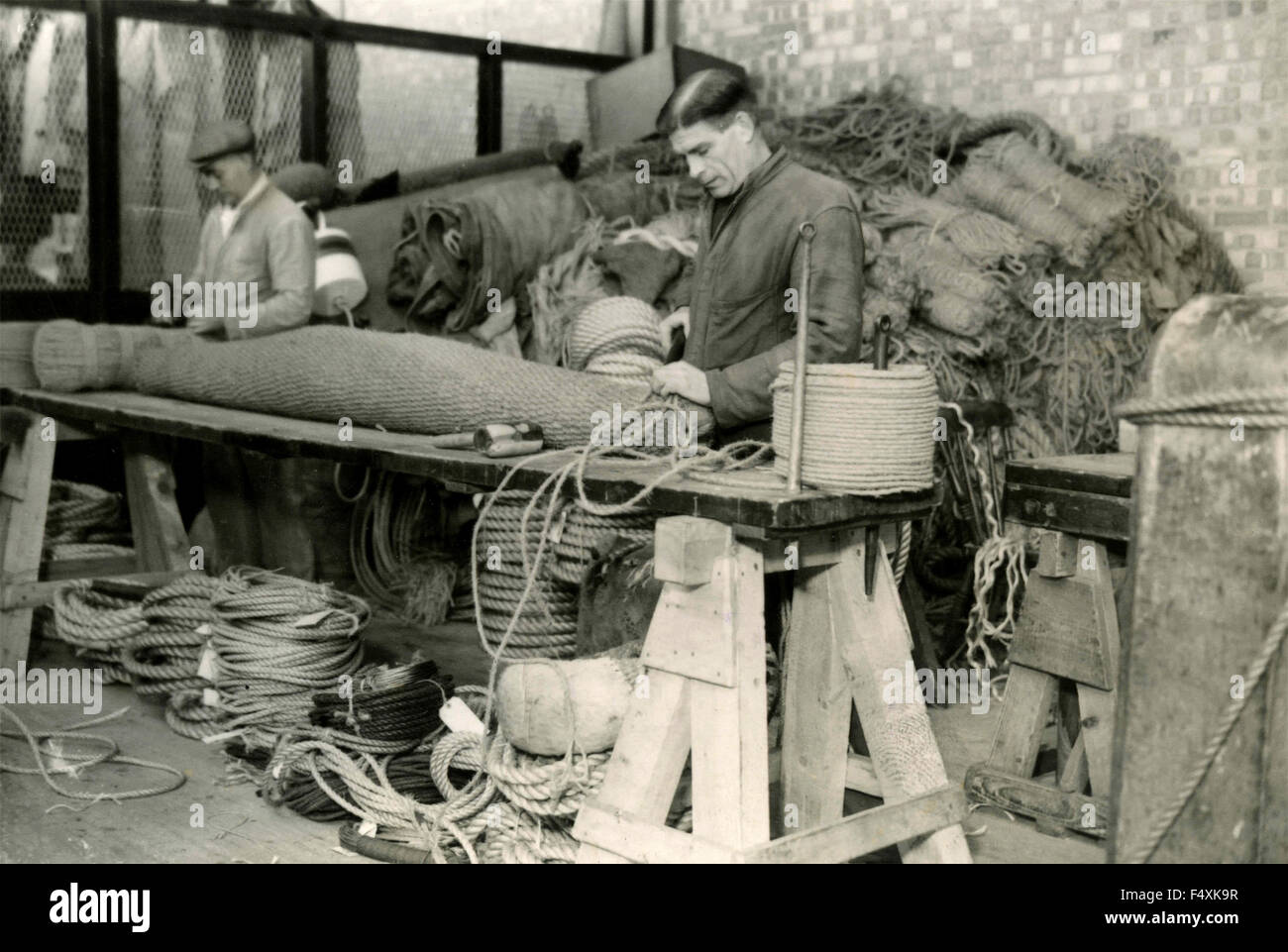 Manufacture of rope fenders, Royal National Lifeboat Institution, UK - Stock Image