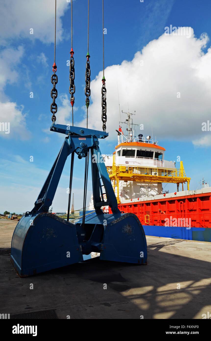 MV Richelieu unloading her cargo in Birkenhead Docks, Wirral, UK Stock Photo