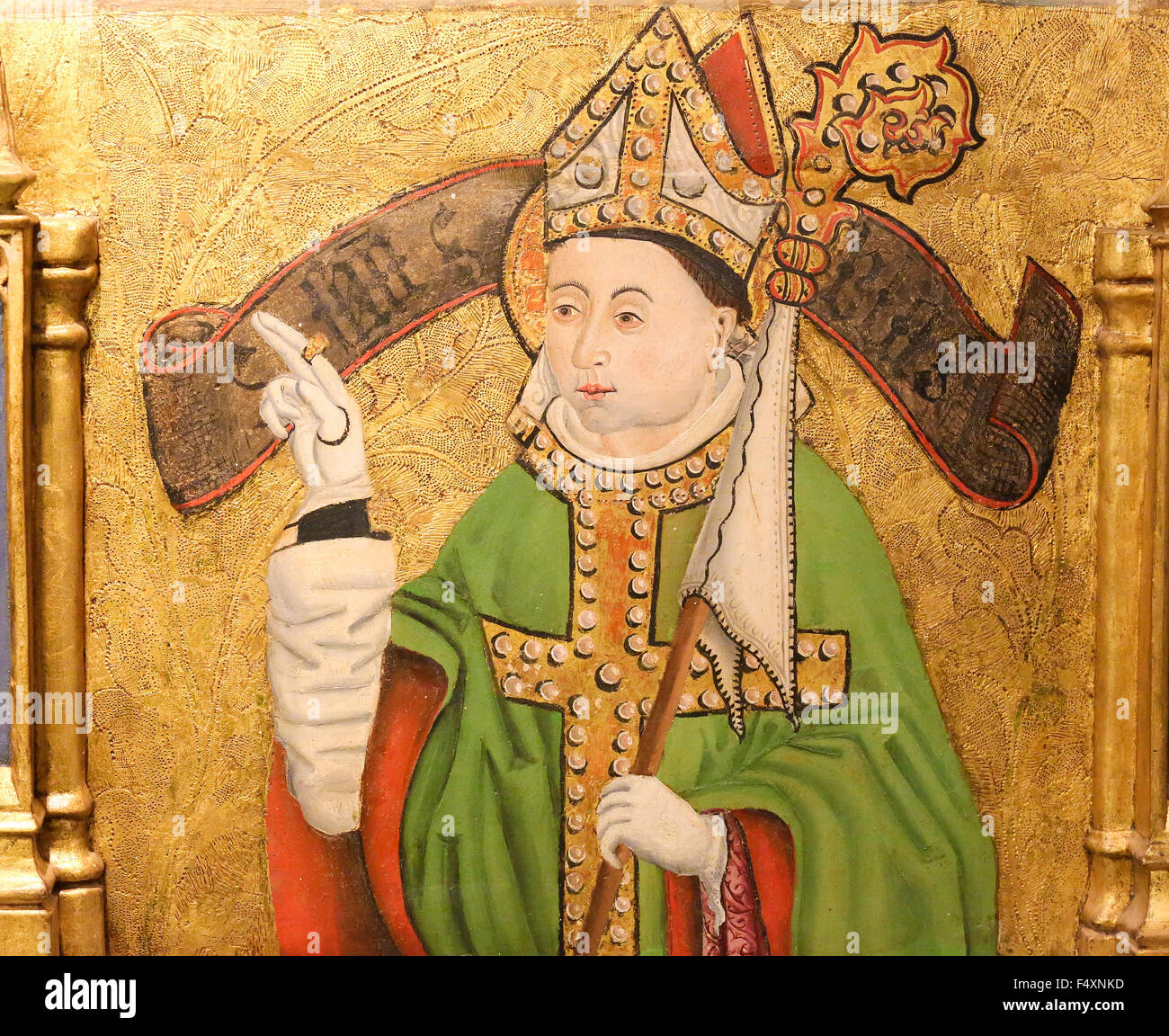 Painting of a bishop with a mitre and crozier in the Cathedral of Burgos, Castille, Spain - Stock Image