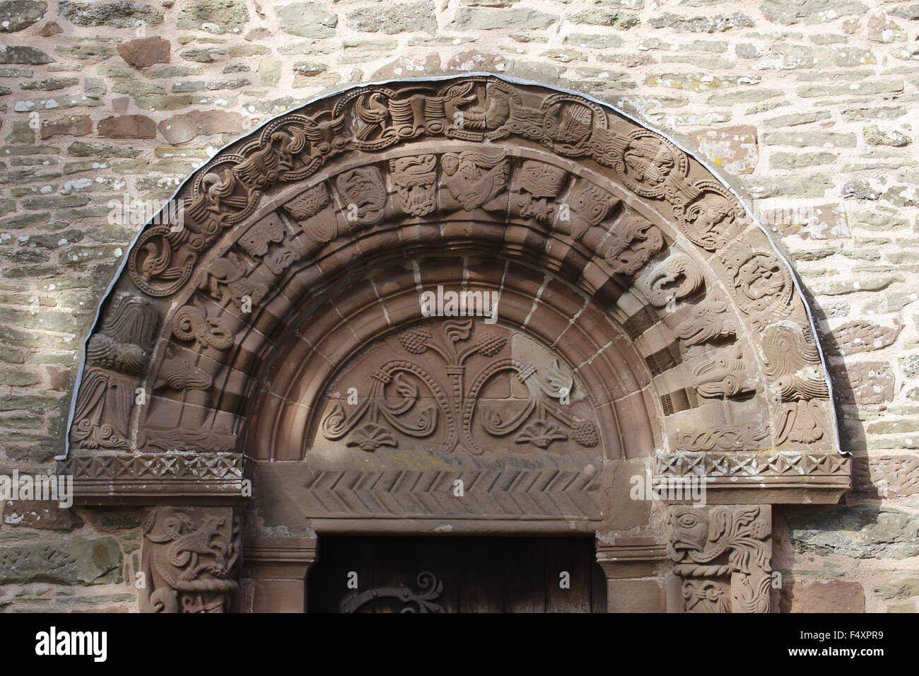 South Door Arches and Tympanum, Kilpeck Church, Herefordshire, England - Stock Image