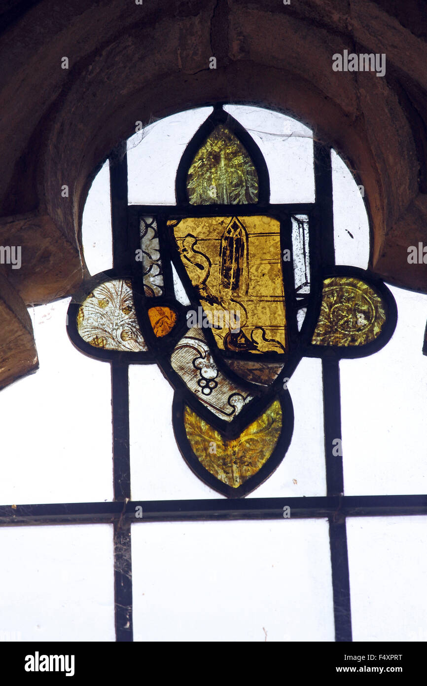 15th century stained glass window fragments, Horley Church, Oxfordshire - Stock Image
