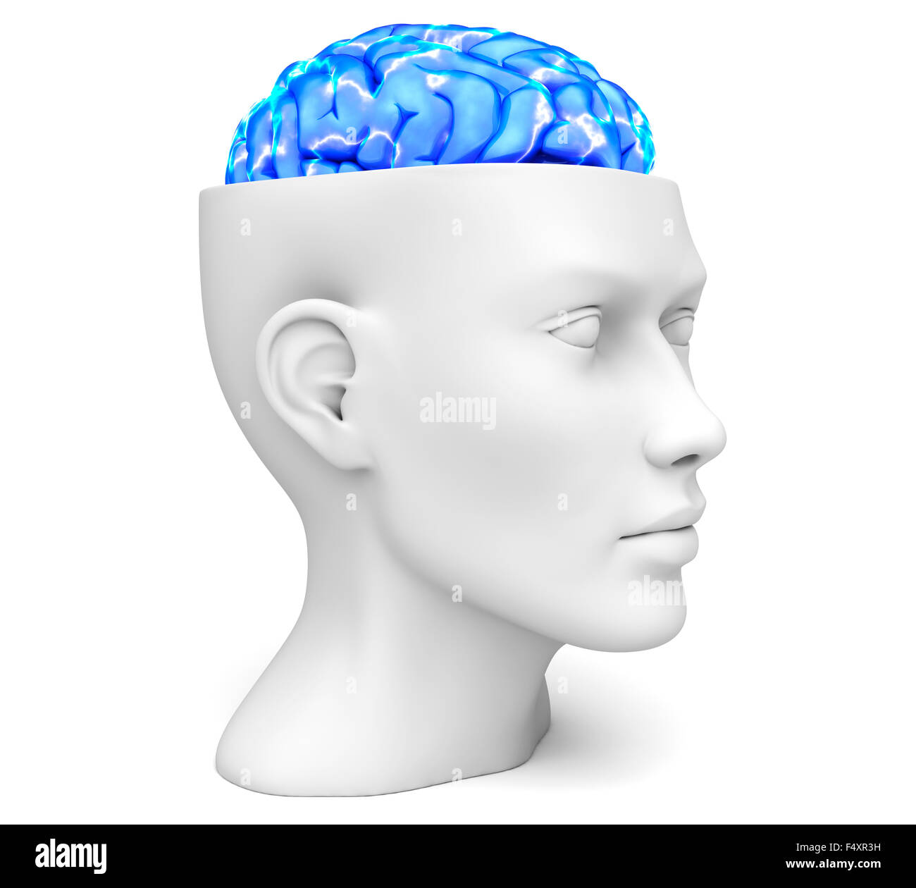 Head with active brain - Stock Image