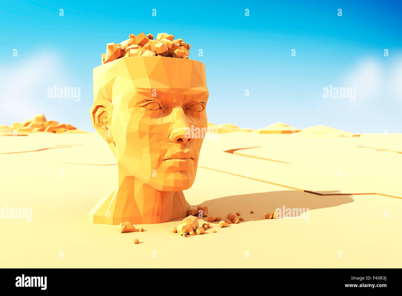 Man head with stones instead the brain - Stock Image