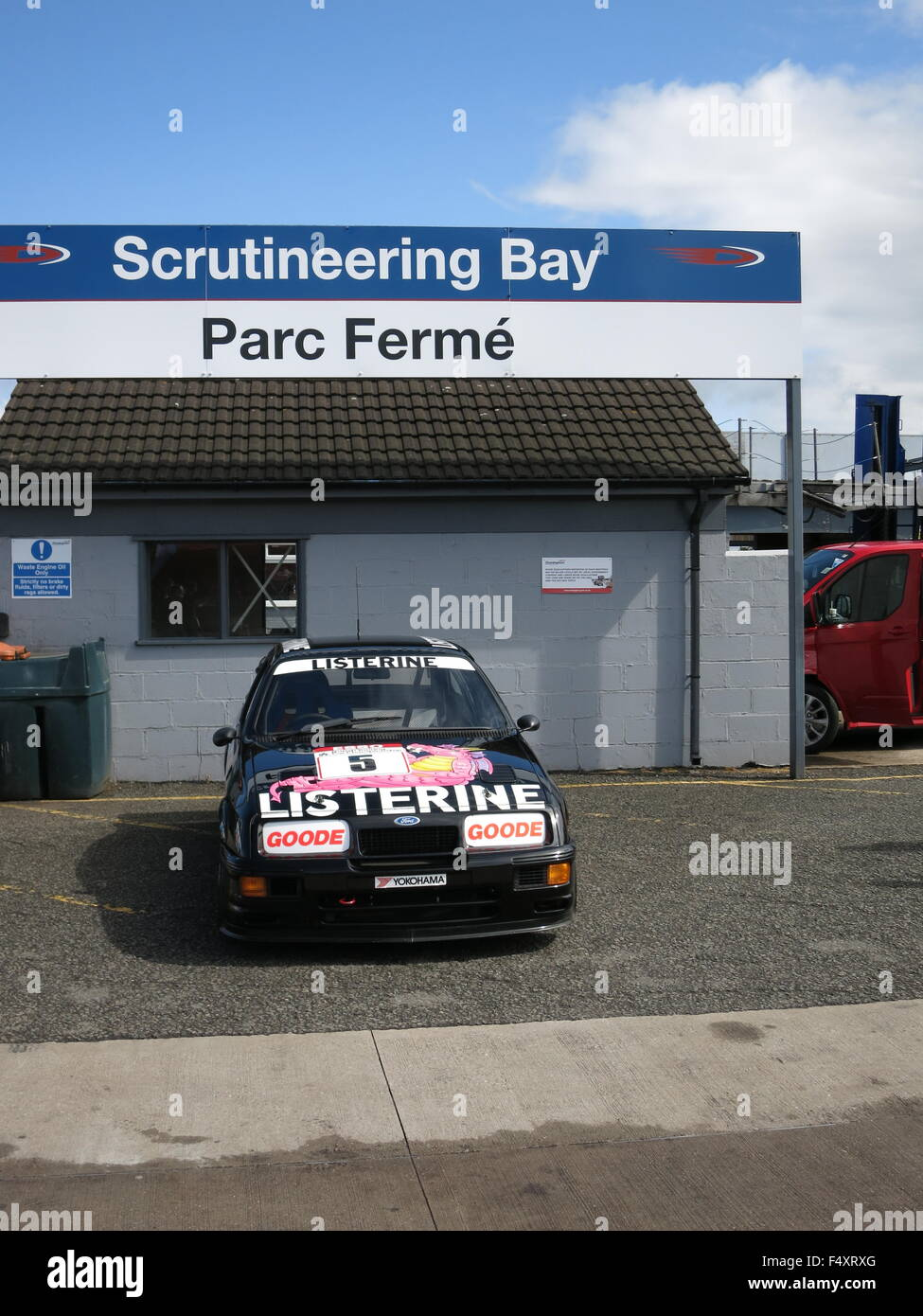 Ford Sierra RS500 RS 500 Cosworth Touring car - in scrutineering bay at donnington park race curcuit mk1 1st generation - Stock Image