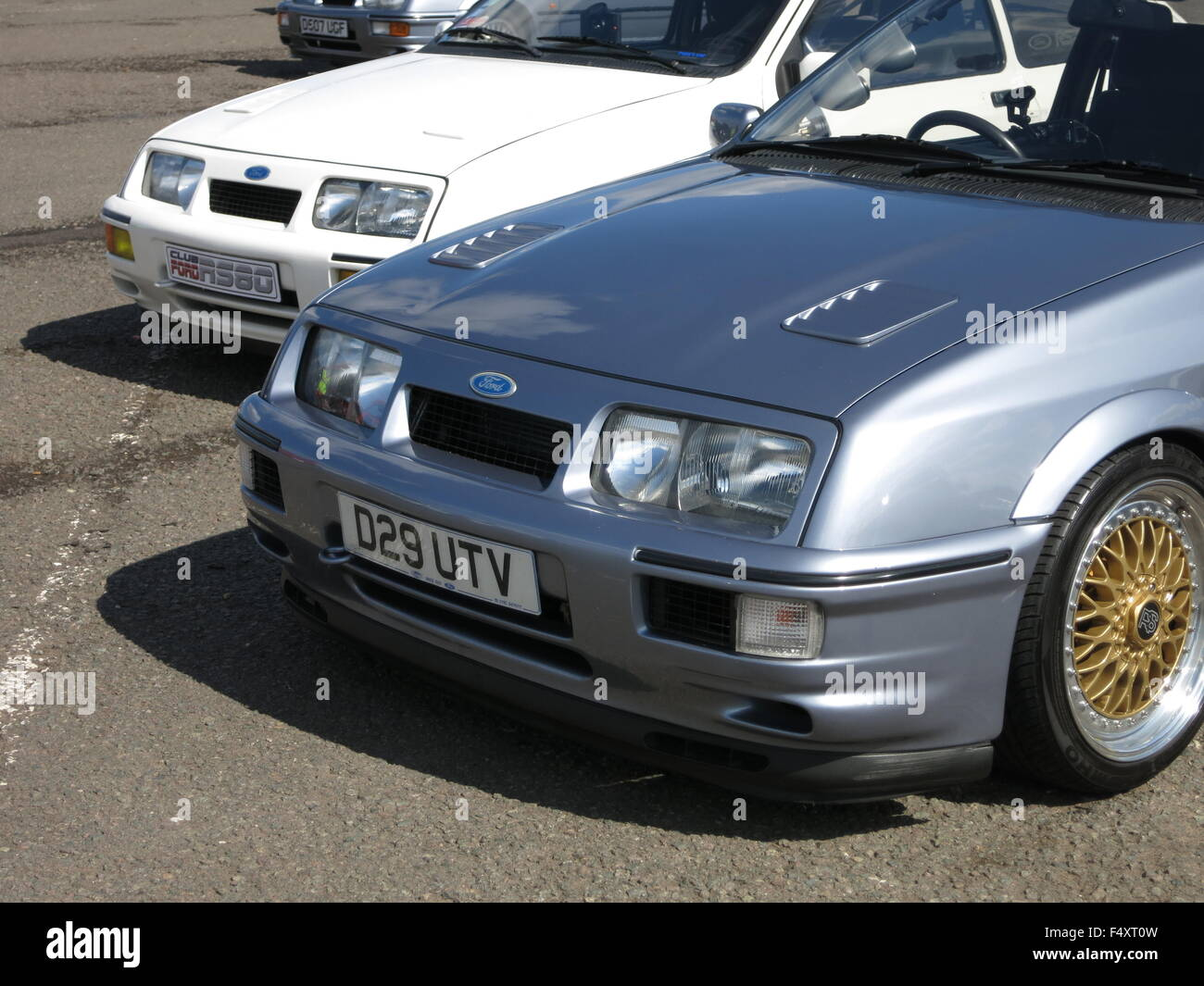 Ford Sierra RS Cosworth In moonstone blue as shown at RSOC rs owners club event at donnington park mk1 1st generation - Stock Image