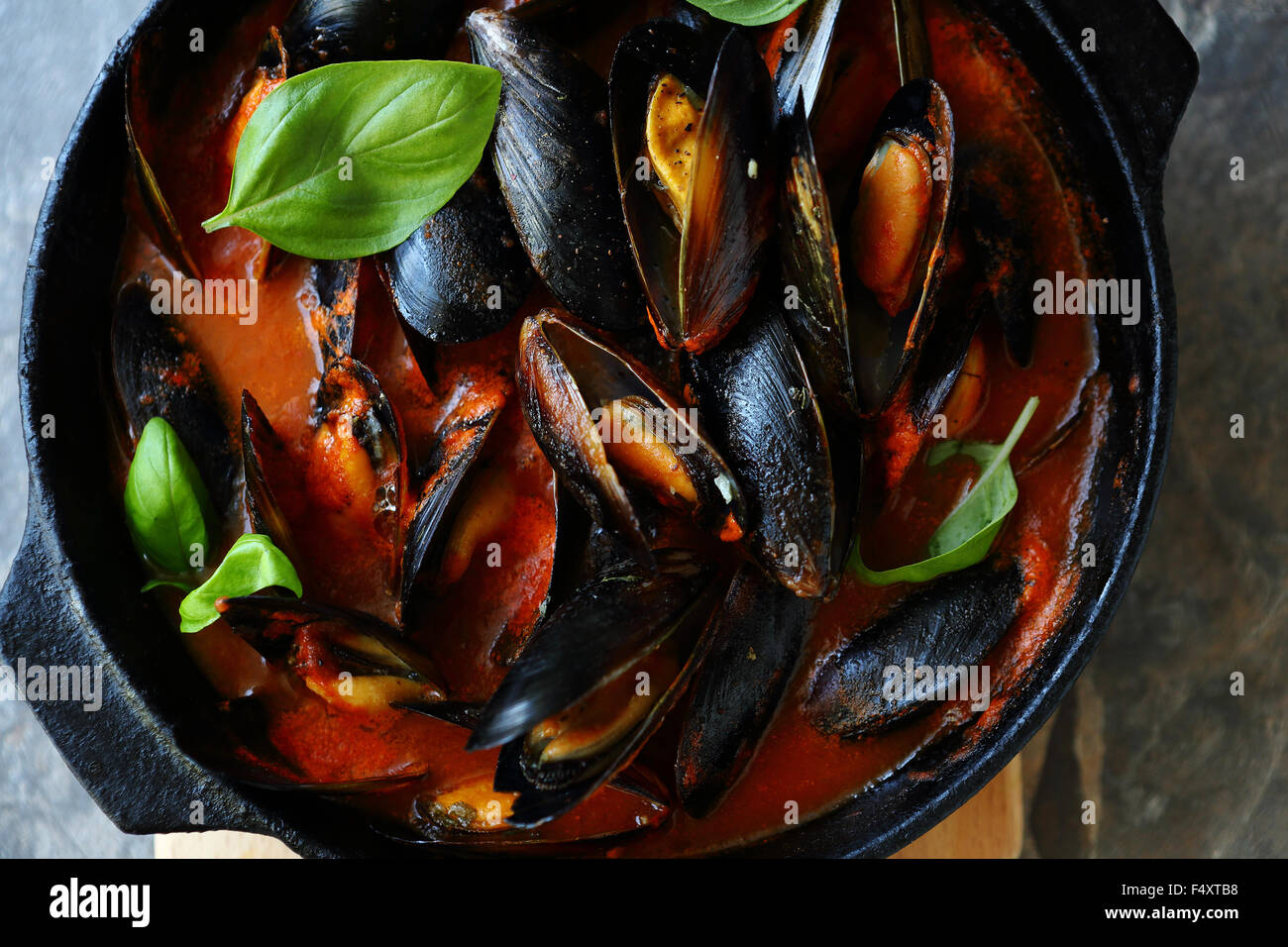 steamed mussels in pan, top - Stock Image