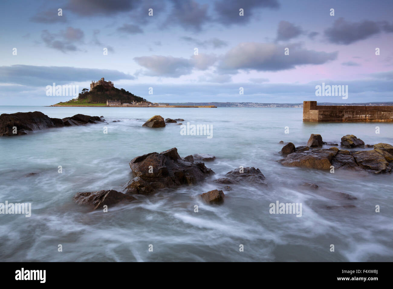 St Michael's Mount; Dawn From Marazion; Cornwall; UK Stock Photo