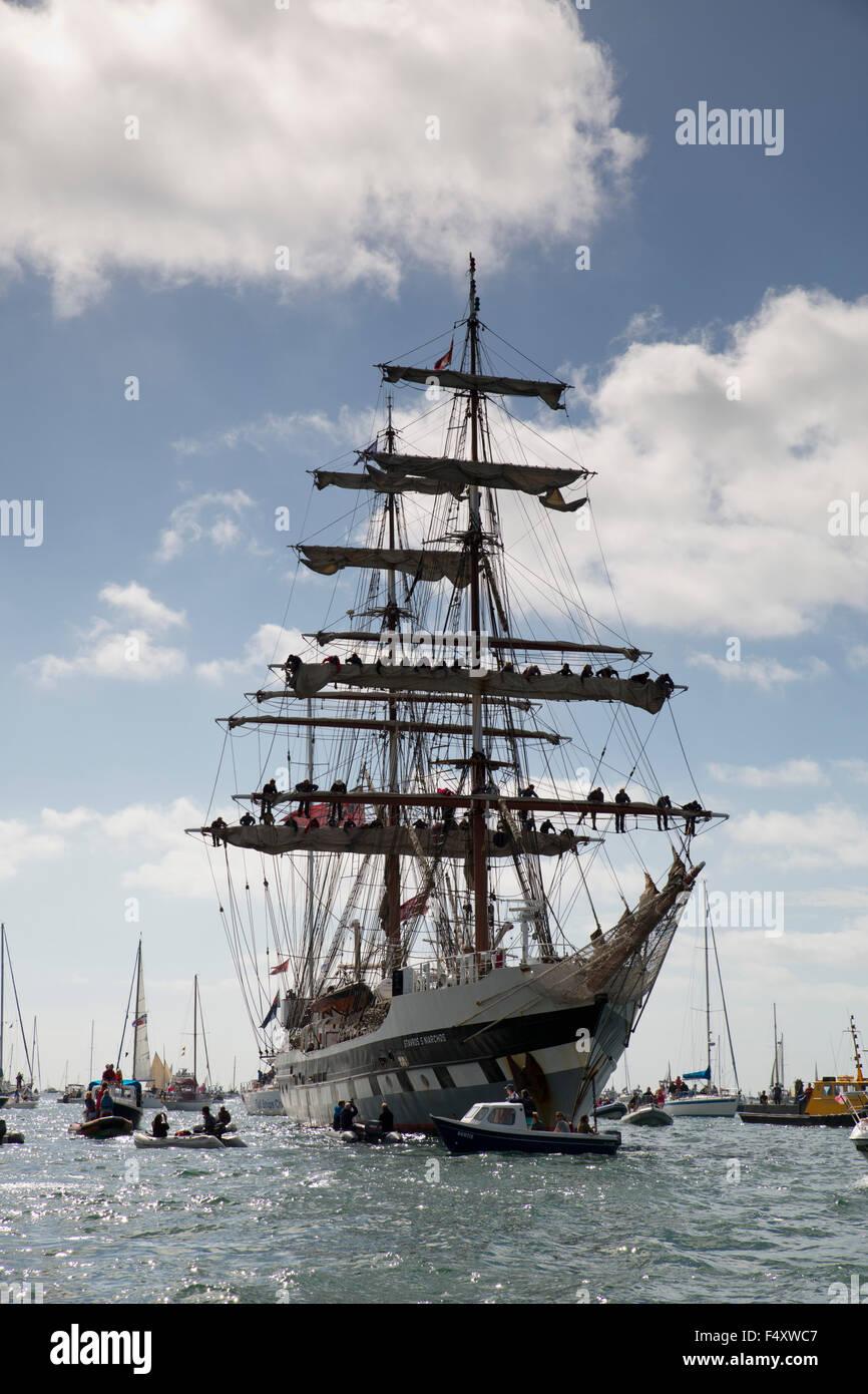 Tall Ships; Hoisting the Sails Regatta; Falmouth 2014; Cornwall; UK - Stock Image