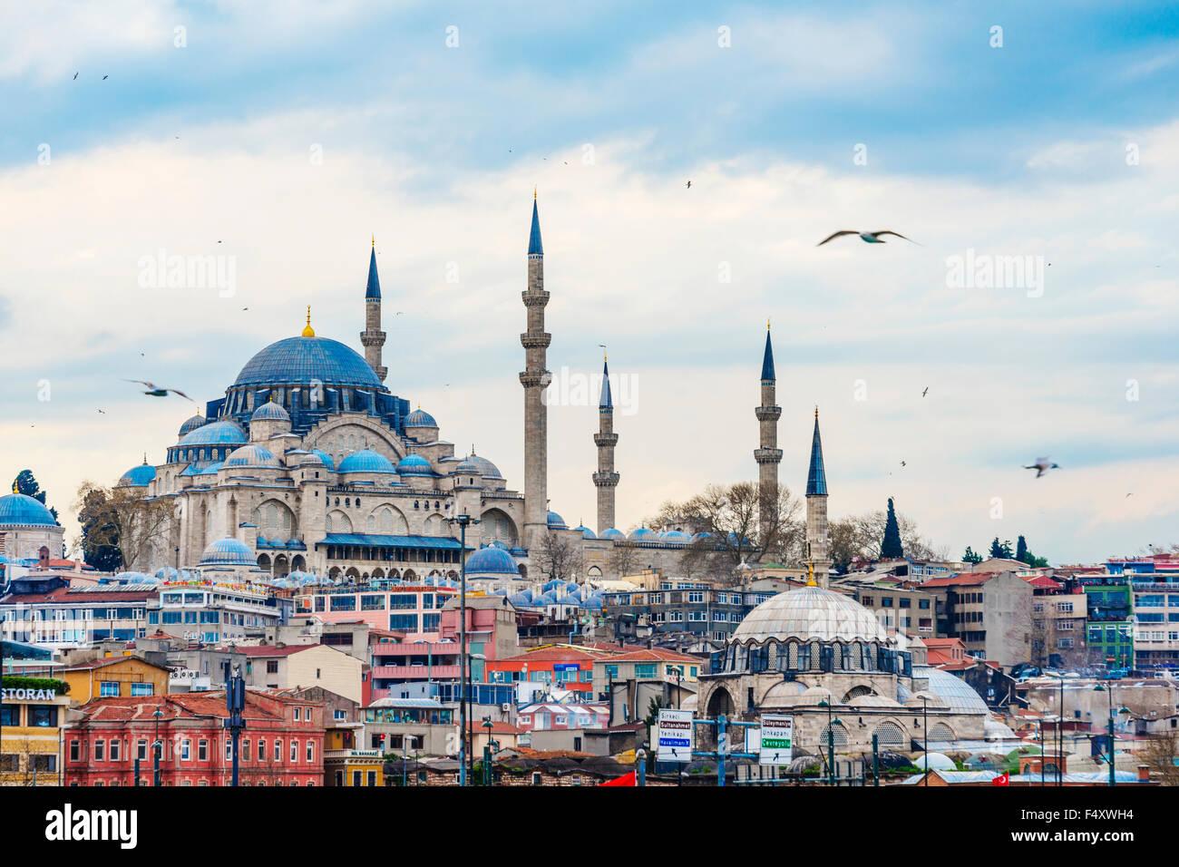 Süleymaniye Mosque, Golden Horn, Istanbul, Turkey - Stock Image