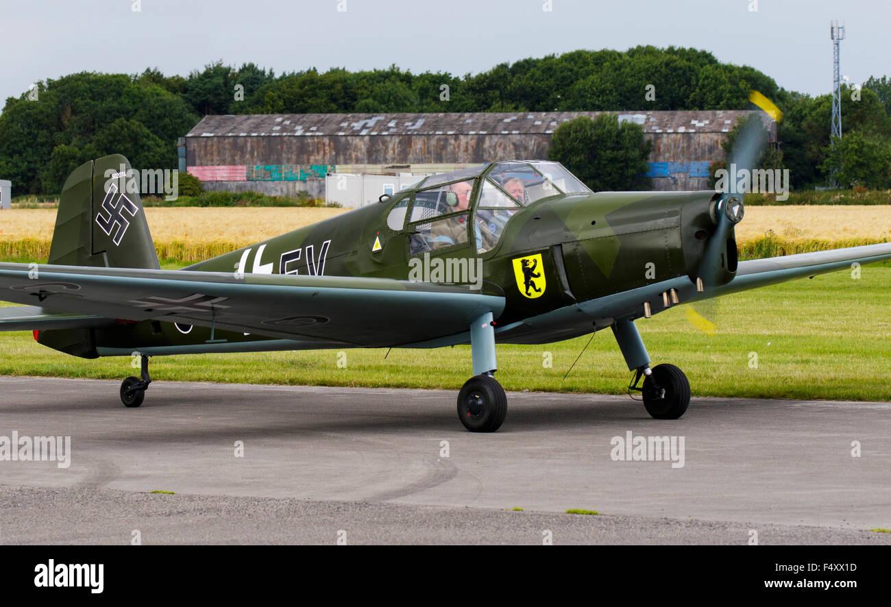 Gomhouria 181 MK6 (Bucker Bestman) CG-EV G-cgev taxiing from runway at Breighton Airfield - Stock Image